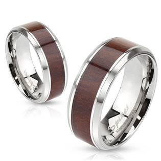 OPR1499 Snubní prsteny ocel dekor ořech - pár