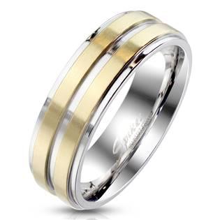OPR1769 Dámský ocelový prsten s pruhy