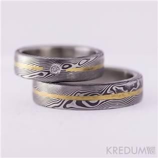 Pánský kovaný prsten Damasteel Golden Line