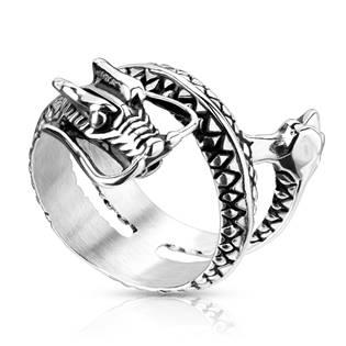 Pánský ocelový prsten - drak