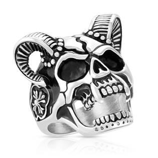 Pánský ocelový prsten - lebka s rohy