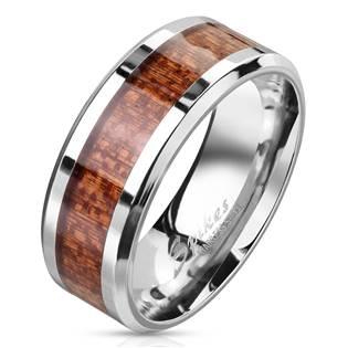 Pánský ocelový prsten dekor dřevo