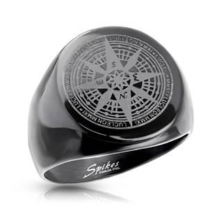 Pánský ocelový prsten kompas, vel. 65