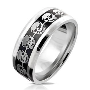 Pánský ocelový prsten s lebkami