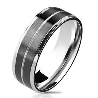Pánský ocelový prsten s pruhy