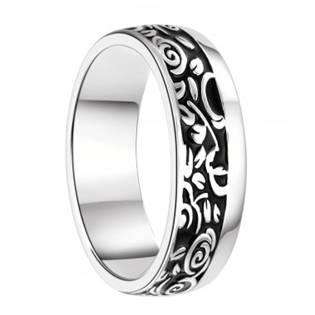 Pánský stříbrný snubní prsten s ornamenty, šíře 6,5 mm, vel. 69