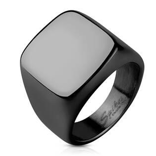 Pečetní ocelový prsten černý