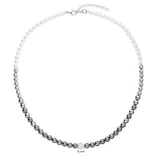 Perlový náhrdelník bílo-šedý