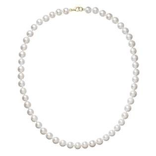 Perlový náhrdelník bílý z pravých říčních perel se zlatým 14 karátovým zapínáním
