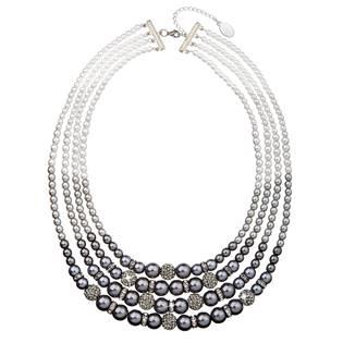 Perlový náhrdelník šedý 4 řadý