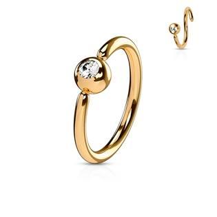 Piercing - zlacený kruh, kulička 3 mm