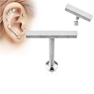 Piercing do brady - labreta 1,2 x 6 mm, obdélník 2 x 12 mm