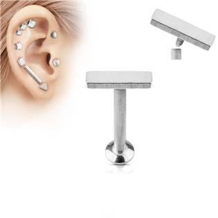 Piercing do brady - labreta 1,2 x 6 mm, obdélník 2 x 6 mm