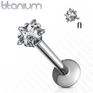 Piercing do brady - labreta titan hvězda, 1,2 x 8 mm
