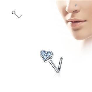 Piercing do nosu srdíčko, tyrkysové kamínky