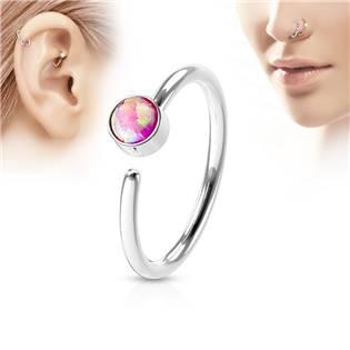 Piercing do nosu/ucha kruh, opál růžový