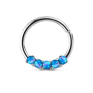 Piercing do nosu/ucha kruh s modrými opály