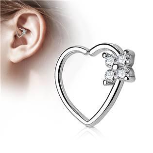 Piercing do nosu/ucha srdce, čiré kamínky