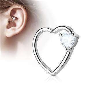 Piercing do nosu/ucha srdce, čirý kamínek