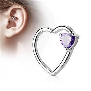 Piercing do nosu/ucha srdce, fialový kamínek