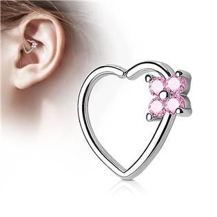 Piercing do nosu/ucha srdce, růžové kamínky