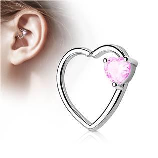 Piercing do nosu/ucha srdce, růžový kamínek