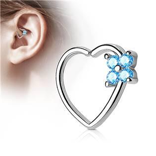 Piercing do nosu/ucha srdce, tyrkysové kamínky