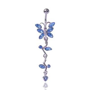 Piercing do pupíku - motýlek, modré zirkony - výprodej !