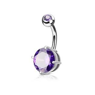 Piercing do pupíku, fialový kámen 10 mm