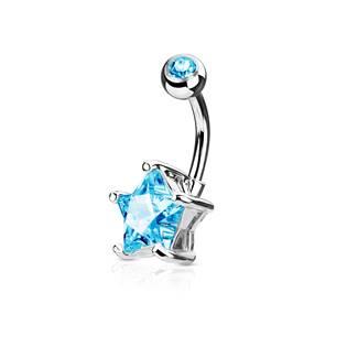 Piercing do pupíku hvězda, tyrkysový kámen 10 mm