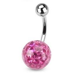 Piercing do pupíku s kamínky Crystals From Swarovski® ROSE