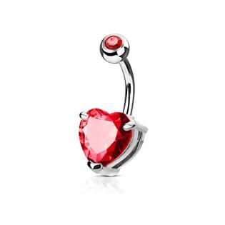 Piercing do pupíku srdce, červený kámen 10 mm