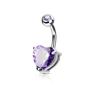 Piercing do pupíku srdce, fialový kámen 10 mm