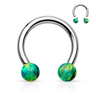 Piercing podkova - zelený opál, 1,6 x 12 mm, kuličky 5 mm