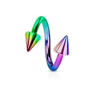 Piercing spirála světle duhová 1,2 x 10 mm