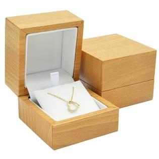 Plastová krabička na náhrdelník - imitace dřeva