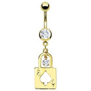 Pozlacený piercing do pupíku - visací zámek