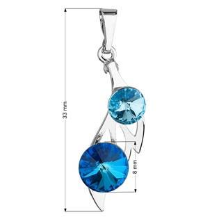 Přívěsek bižuterie se Swarovski krystaly, Bermuda Blue