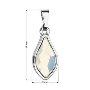Přívěsek bižuterie se Swarovski krystaly bílá kapka, White Opal