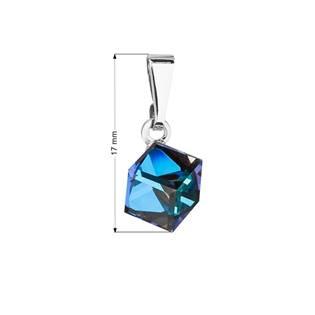 Přívěsek bižuterie se Swarovski krystaly modrá kostička, Bermuda Blue