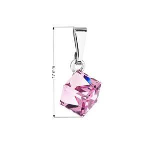 Přívěsek bižuterie se Swarovski krystaly růžová kostička, Light Rose