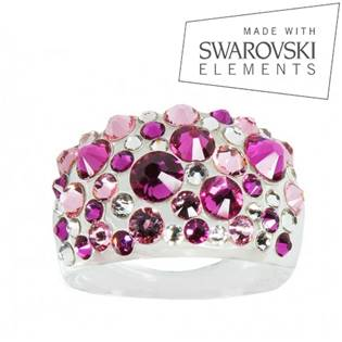 Prsten s krystaly Crystals from Swarovski®, Fuchsia