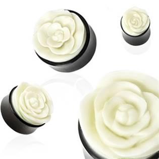 Rohovinový plug s bílou růží