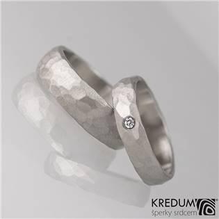 Ručně kované ocelové prsteny Klasik Draill Diamant - 1 pár