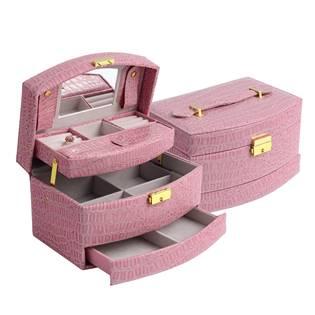 Růžová koženková šperkovnice
