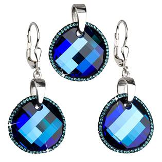 Sada šperků čtverce Crystals from Swarovski® Bermuda Blue