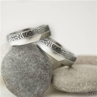 Snubní prsteny Damasteel DUO s linkou - pár