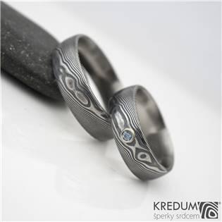 Snubní prsteny Damasteel Prima Akvamarín - pár