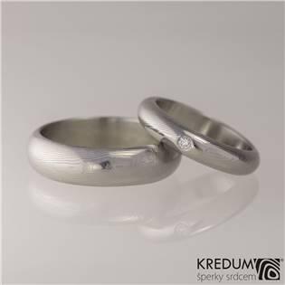Snubní prsteny Damasteel Prima diamant 2.0mm - pár