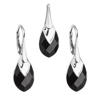 Souprava stříbrných šperků kameny s Crystals from Swarovski® JET